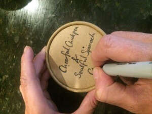 Helen Hand Writing Our Lovely Kraft Cup Lid