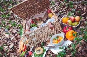 Picnic Hamper Filled With Nature's Kitchen's Goodies